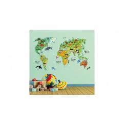 Wandsticker Weltkarte für Kinder