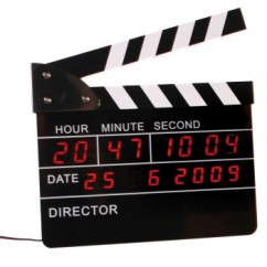 Digital alarm clock in the shape of a clapperboard